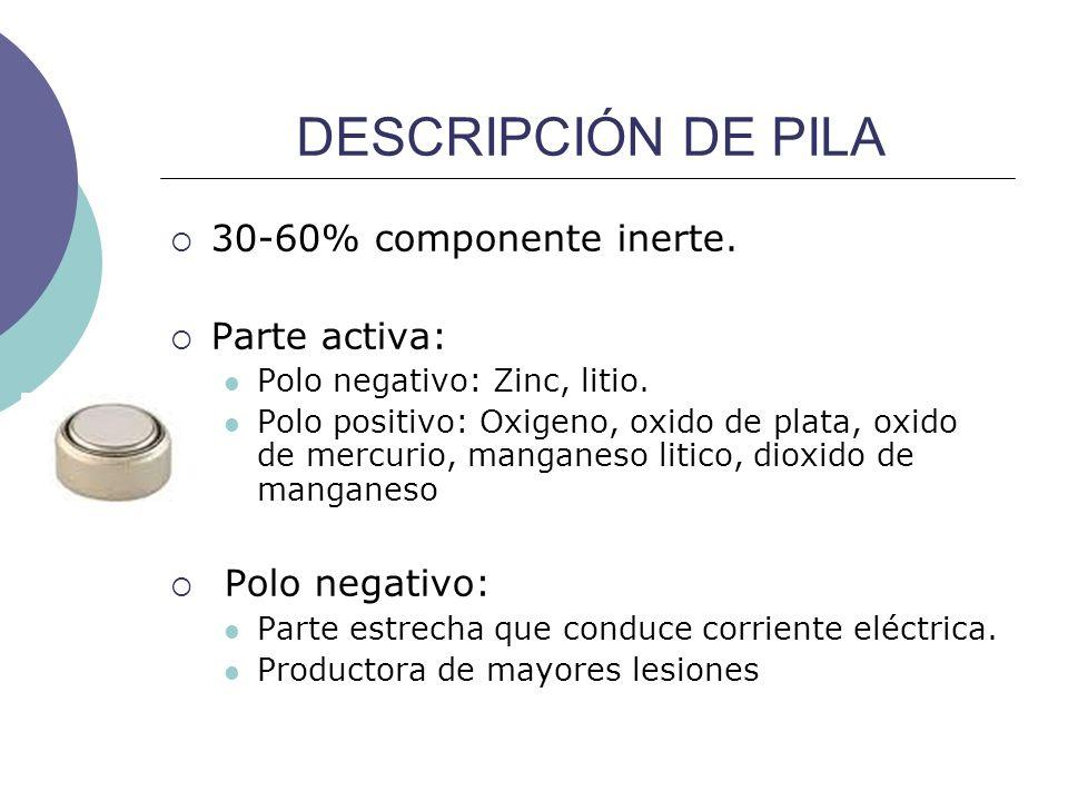 DESCRIPCIÓN DE PILA 30-60% componente inerte. Parte activa: Polo negativo: Zinc, litio. Polo positivo: Oxigeno, oxido de plata, oxido de mercurio, man