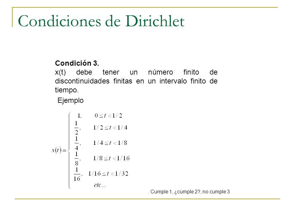 Condiciones de Dirichlet Condición 3. x(t) debe tener un número finito de discontinuidades finitas en un intervalo finito de tiempo.. Cumple 1, ¿cumpl