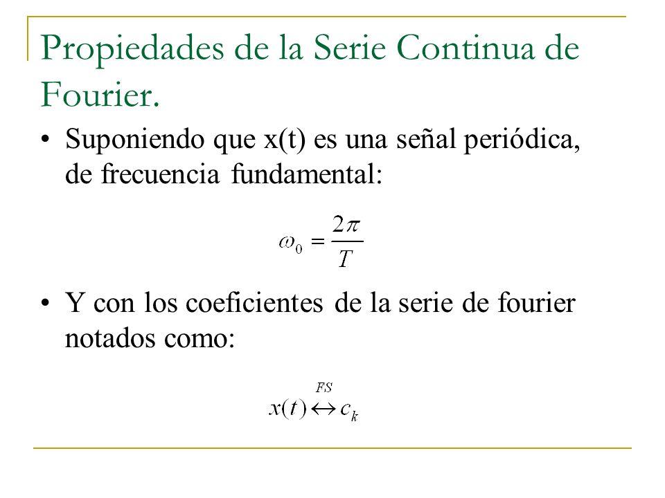 Propiedades de la Serie Continua de Fourier. Suponiendo que x(t) es una señal periódica, de frecuencia fundamental: Y con los coeficientes de la serie