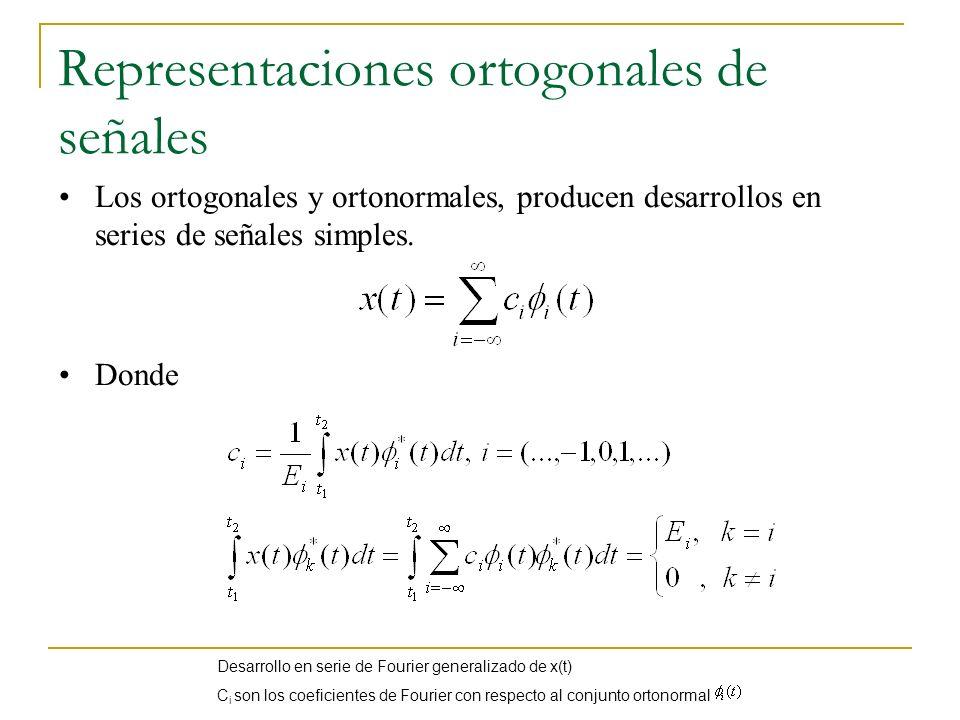 Representaciones ortogonales de señales Los ortogonales y ortonormales, producen desarrollos en series de señales simples. Donde Desarrollo en serie d