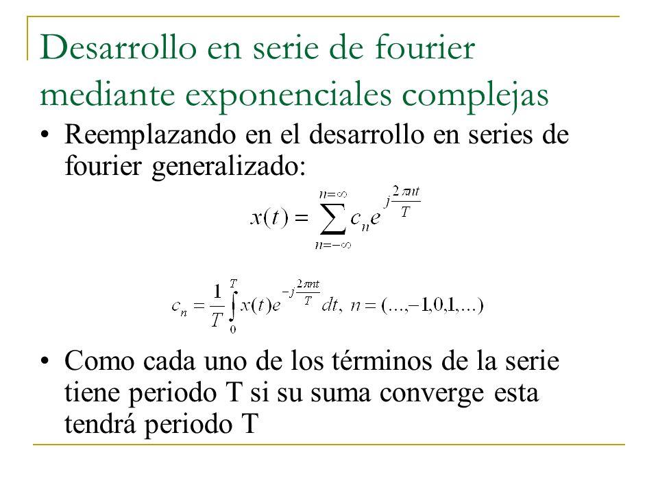 Desarrollo en serie de fourier mediante exponenciales complejas Reemplazando en el desarrollo en series de fourier generalizado: Como cada uno de los