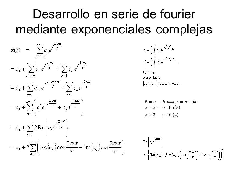 Desarrollo en serie de fourier mediante exponenciales complejas