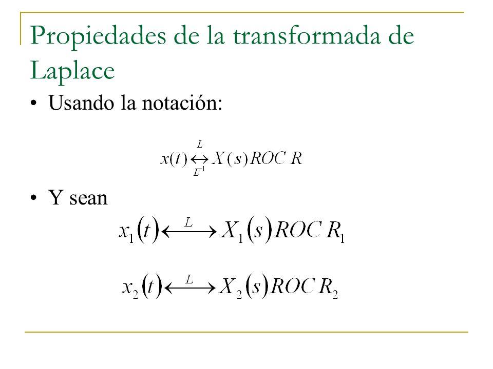 Propiedades de la transformada de Laplace Usando la notación: Y sean