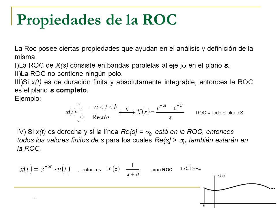 Propiedades de la ROC La Roc posee ciertas propiedades que ayudan en el análisis y definición de la misma. I)La ROC de X(s) consiste en bandas paralel