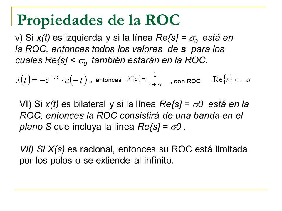 Propiedades de la ROC v) Si x(t) es izquierda y si la línea Re{s] = 0 está en la ROC, entonces todos los valores de s para los cuales Re{s] < 0 tambié