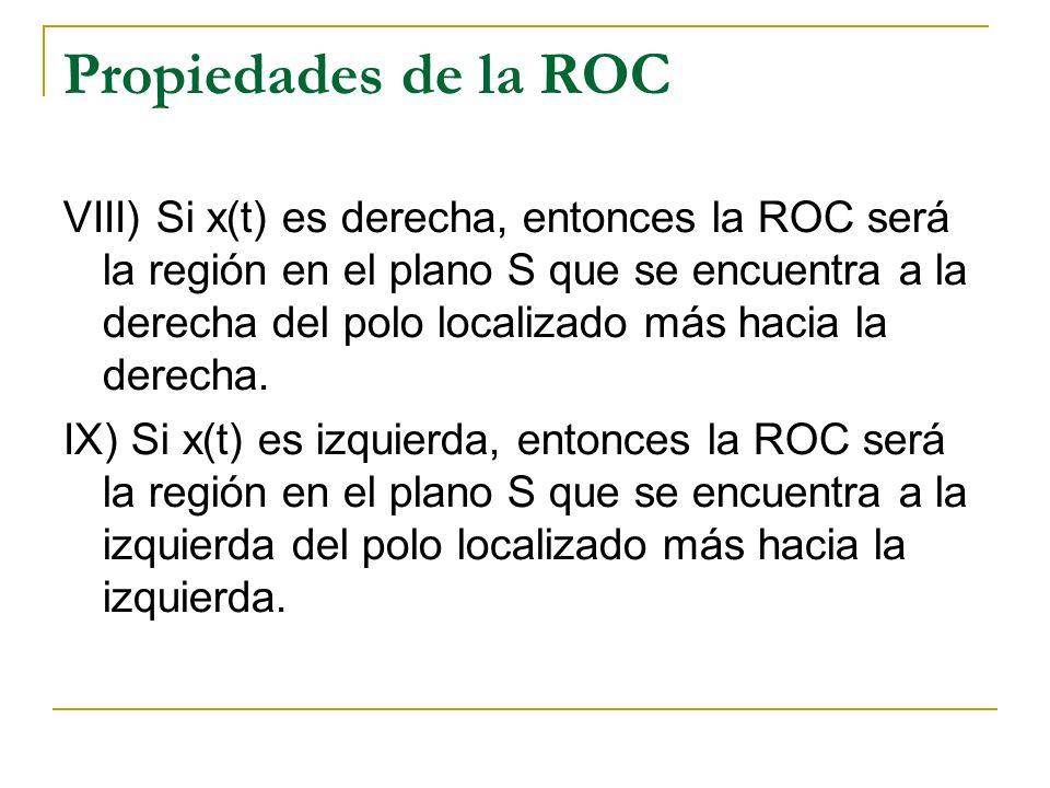 Propiedades de la ROC VIII) Si x(t) es derecha, entonces la ROC será la región en el plano S que se encuentra a la derecha del polo localizado más hac