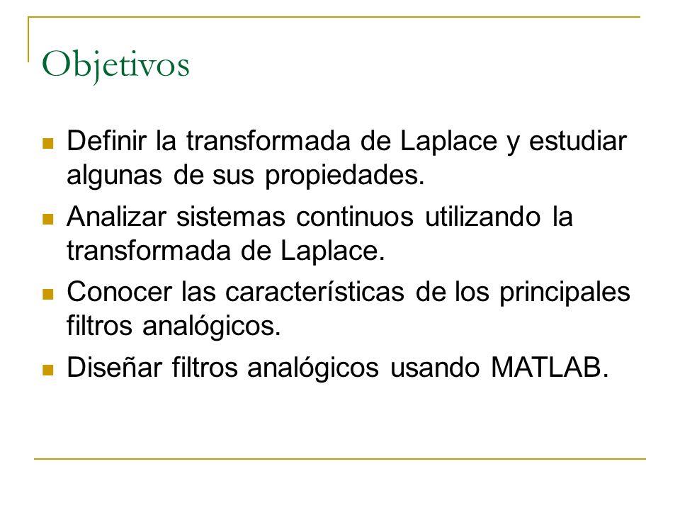 Objetivos Definir la transformada de Laplace y estudiar algunas de sus propiedades. Analizar sistemas continuos utilizando la transformada de Laplace.