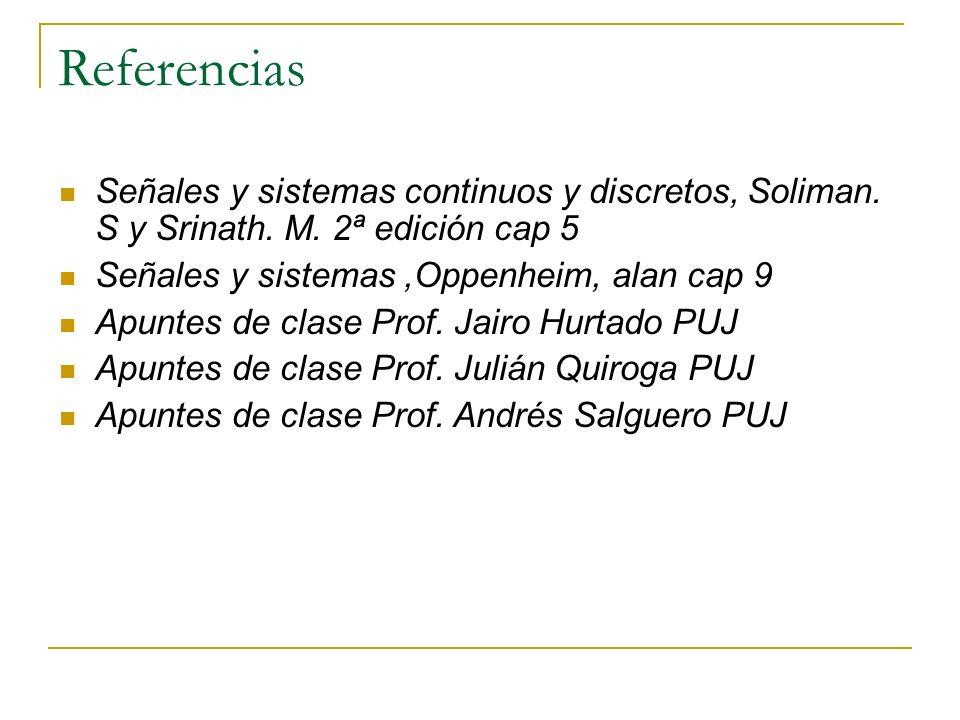 Referencias Señales y sistemas continuos y discretos, Soliman. S y Srinath. M. 2ª edición cap 5 Señales y sistemas,Oppenheim, alan cap 9 Apuntes de cl