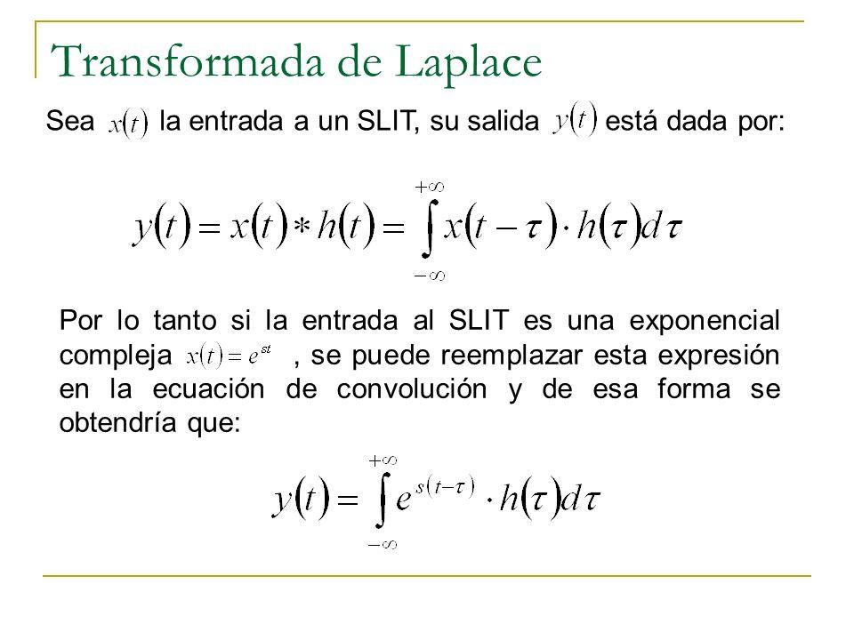 Transformada de Laplace Sea la entrada a un SLIT, su salida está dada por: Por lo tanto si la entrada al SLIT es una exponencial compleja, se puede re
