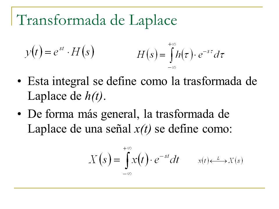Transformada de Laplace Esta integral se define como la trasformada de Laplace de h(t). De forma más general, la trasformada de Laplace de una señal x