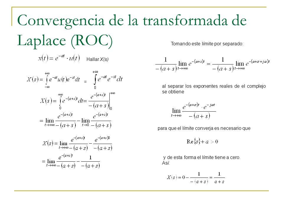 Convergencia de la transformada de Laplace (ROC) = Tomando este límite por separado: al separar los exponentes reales de el complejo se obtiene para q