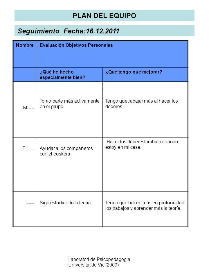 Laboratori de Psicopedagogia. Universitat de Vic (2009) PLAN DEL EQUIPO NombreEvaluación Objetivos Personales ¿Qué he hecho especialmente bien? ¿Qué t