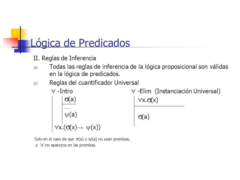 II. Reglas de Inferencia (a) Todas las reglas de inferencia de la lógica proposicional son válidas en la lógica de predicados. (b) Reglas del cuantifi