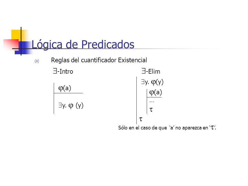 (a) Reglas del cuantificador Existencial -Intro -Elim Lógica de Predicados (a) y. (y) (a) … y. (y) Sólo en el caso de que a no aparezca en.