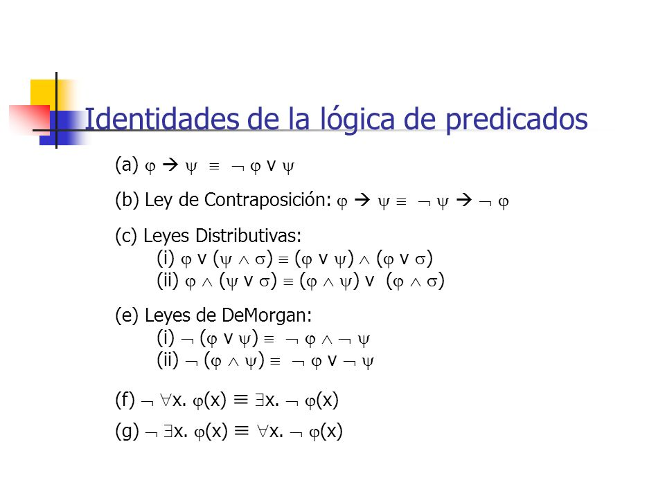 Identidades de la lógica de predicados (a) v (b) Ley de Contraposición: (c) Leyes Distributivas: (i) v ( ) ( v ) ( v ) (ii) ( v ) ( ) v ( ) (e) Leyes