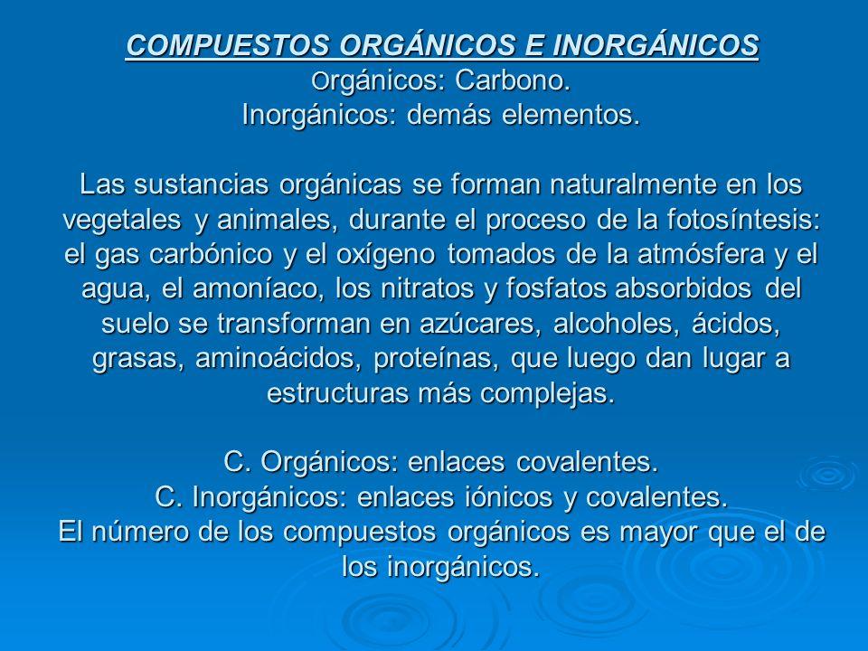 COMPUESTOS ORGÁNICOS E INORGÁNICOS O rgánicos: Carbono. Inorgánicos: demás elementos. Las sustancias orgánicas se forman naturalmente en los vegetales