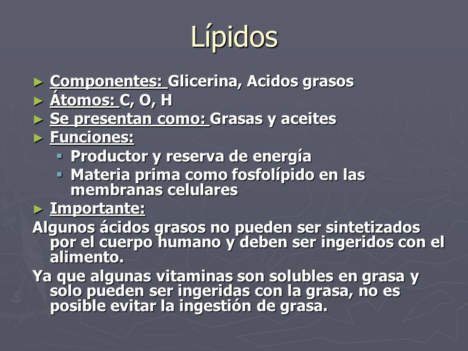 Lípidos Componentes: Glicerina, Acidos grasos Componentes: Glicerina, Acidos grasos Átomos: C, O, H Átomos: C, O, H Se presentan como: Grasas y aceite