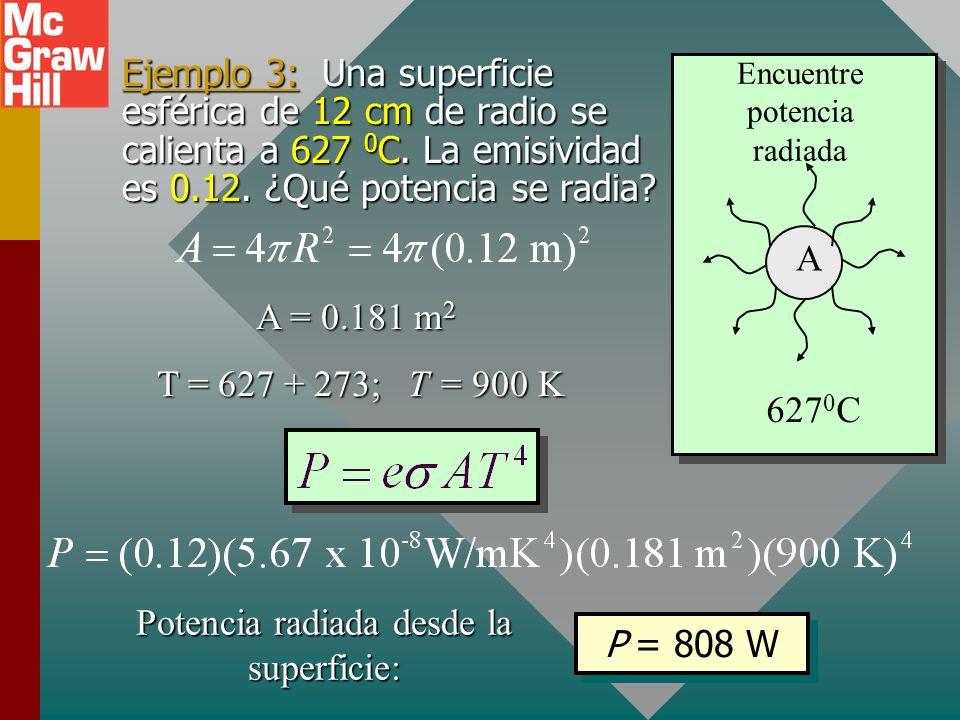 Radiación La tasa de radiación R es la energía emitida por unidad de área por unidad de tiempo (potencia por unidad de área). Tasa de radiación (W/m 2