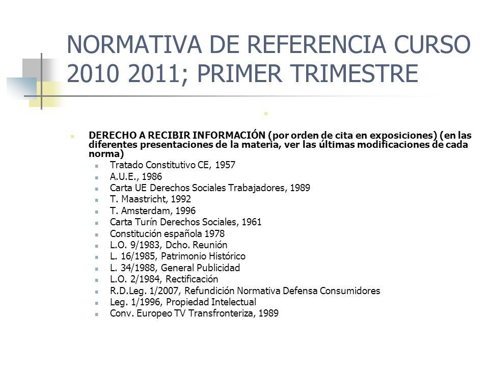 NORMATIVA DE REFERENCIA CURSO 2010 2011 ; PRIMER TRIMESTRE DERECHO A RECIBIR INFORMACIÓN Convención Roma, 1950 (art.