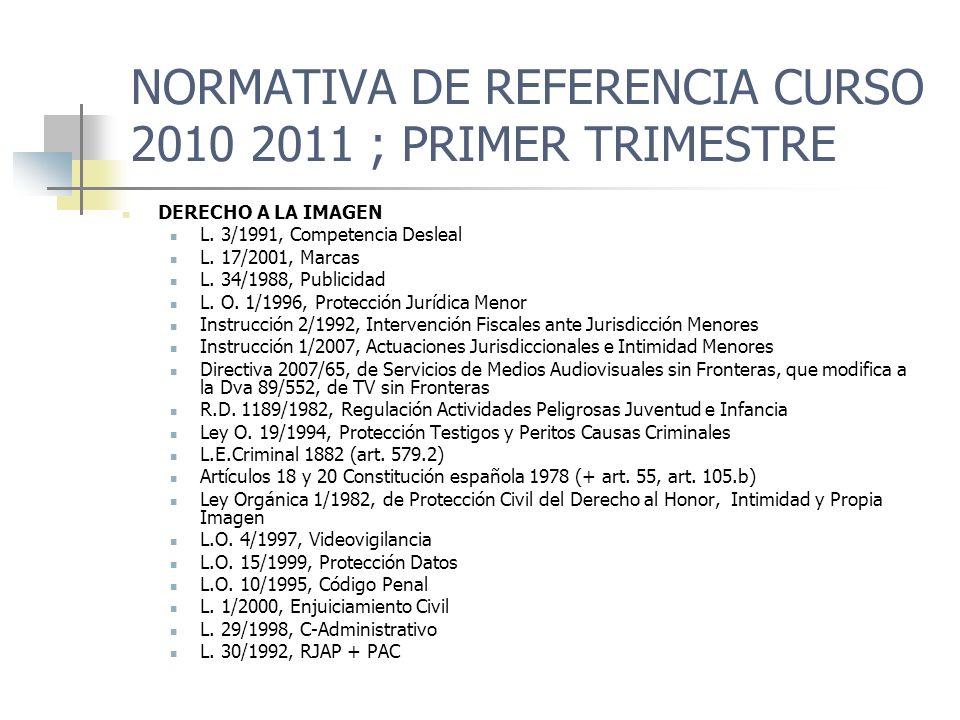NORMATIVA DE REFERENCIA CURSO 2010 2011 ; PRIMER TRIMESTRE DCHO A INTIMIDAD/DATOS PERSONALES L.O.