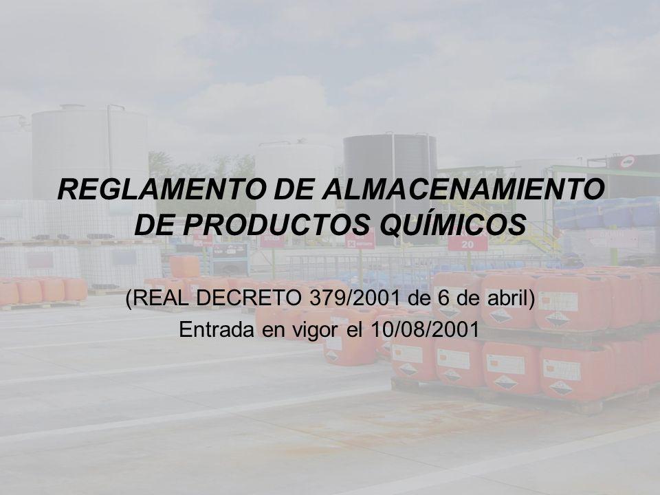 REGLAMENTO DE ALMACENAMIENTO DE PRODUCTOS QUÍMICOS (REAL DECRETO 379/2001 de 6 de abril) Entrada en vigor el 10/08/2001