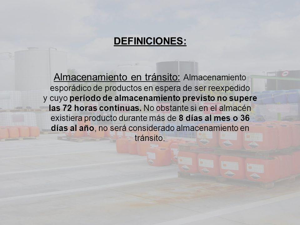DEFINICIONES: Almacenamiento en tránsito: Almacenamiento esporádico de productos en espera de ser reexpedido y cuyo período de almacenamiento previsto