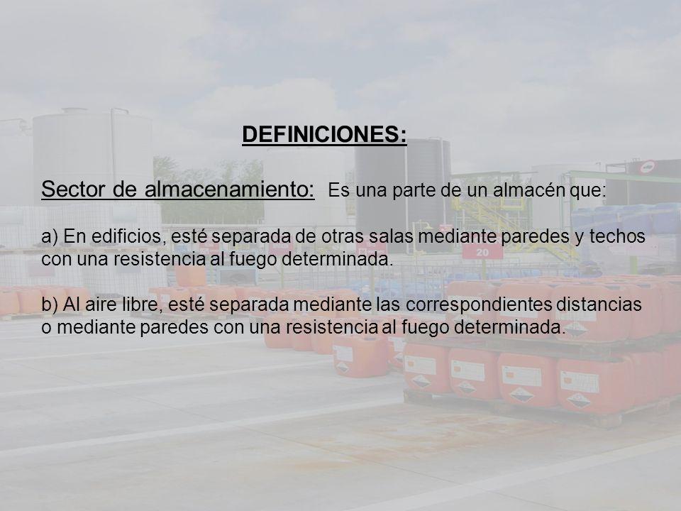DEFINICIONES: Sector de almacenamiento: Es una parte de un almacén que: a) En edificios, esté separada de otras salas mediante paredes y techos con un
