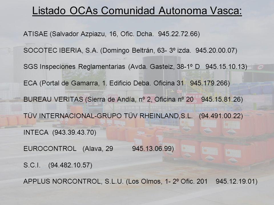 Listado OCAs Comunidad Autonoma Vasca: ATISAE (Salvador Azpiazu, 16, Ofic. Dcha. 945.22.72.66) SOCOTEC IBERIA, S.A. (Domingo Beltrán, 63- 3º izda. 945