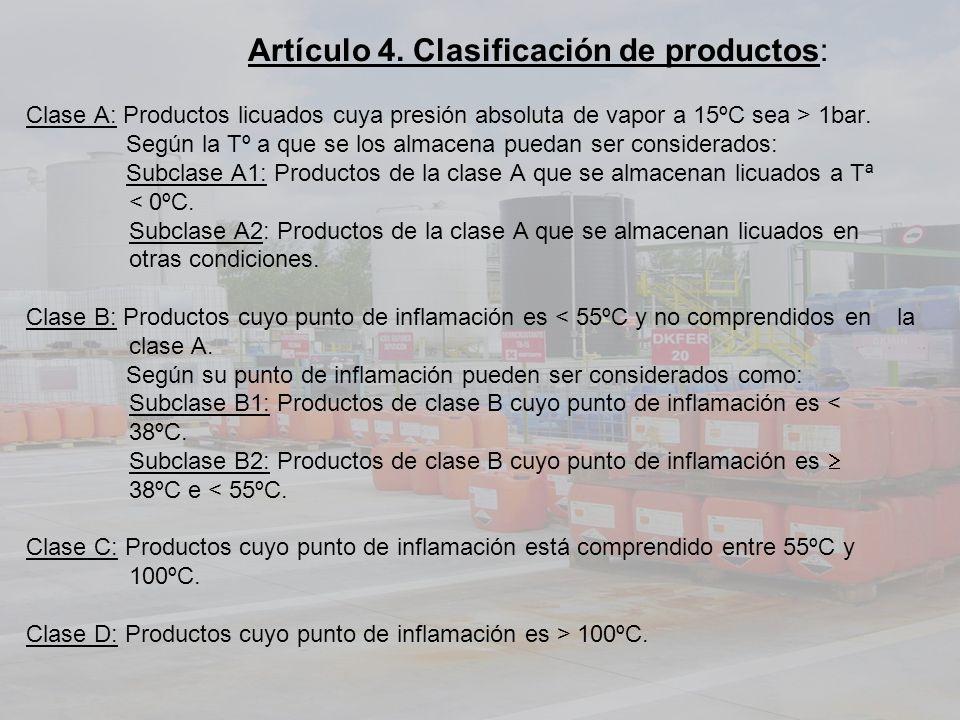 Artículo 4. Clasificación de productos: Clase A: Productos licuados cuya presión absoluta de vapor a 15ºC sea > 1bar. Según la Tº a que se los almacen