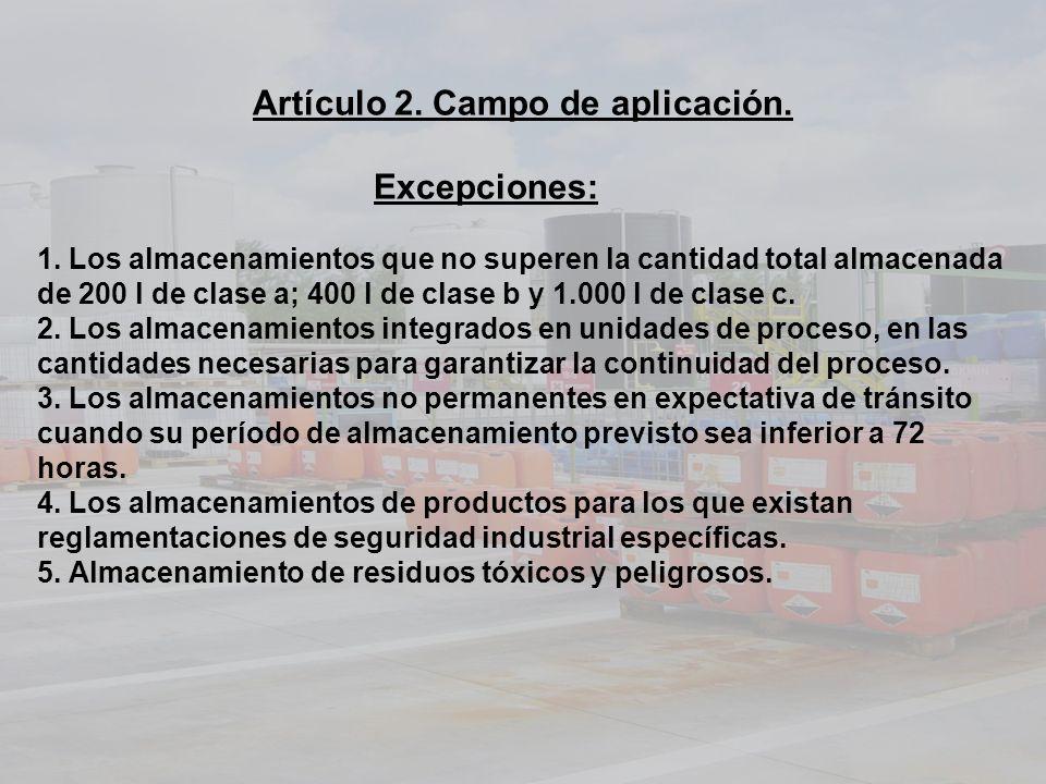 Artículo 2. Campo de aplicación. Excepciones: 1. Los almacenamientos que no superen la cantidad total almacenada de 200 l de clase a; 400 l de clase b