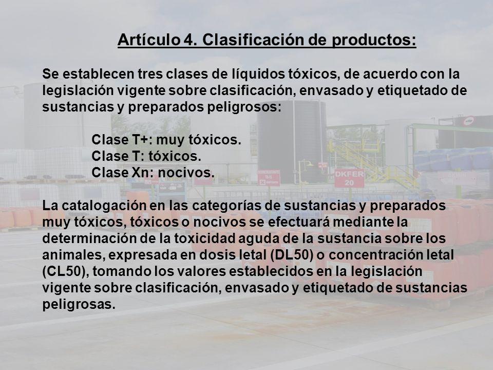 Artículo 4. Clasificación de productos: Se establecen tres clases de líquidos tóxicos, de acuerdo con la legislación vigente sobre clasificación, enva
