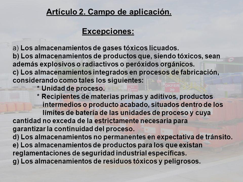 Artículo 2. Campo de aplicación. Excepciones: a) Los almacenamientos de gases tóxicos licuados. b) Los almacenamientos de productos que, siendo tóxico