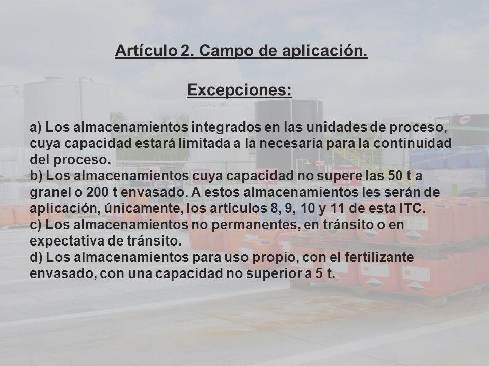 Artículo 2. Campo de aplicación. Excepciones: a) Los almacenamientos integrados en las unidades de proceso, cuya capacidad estará limitada a la necesa