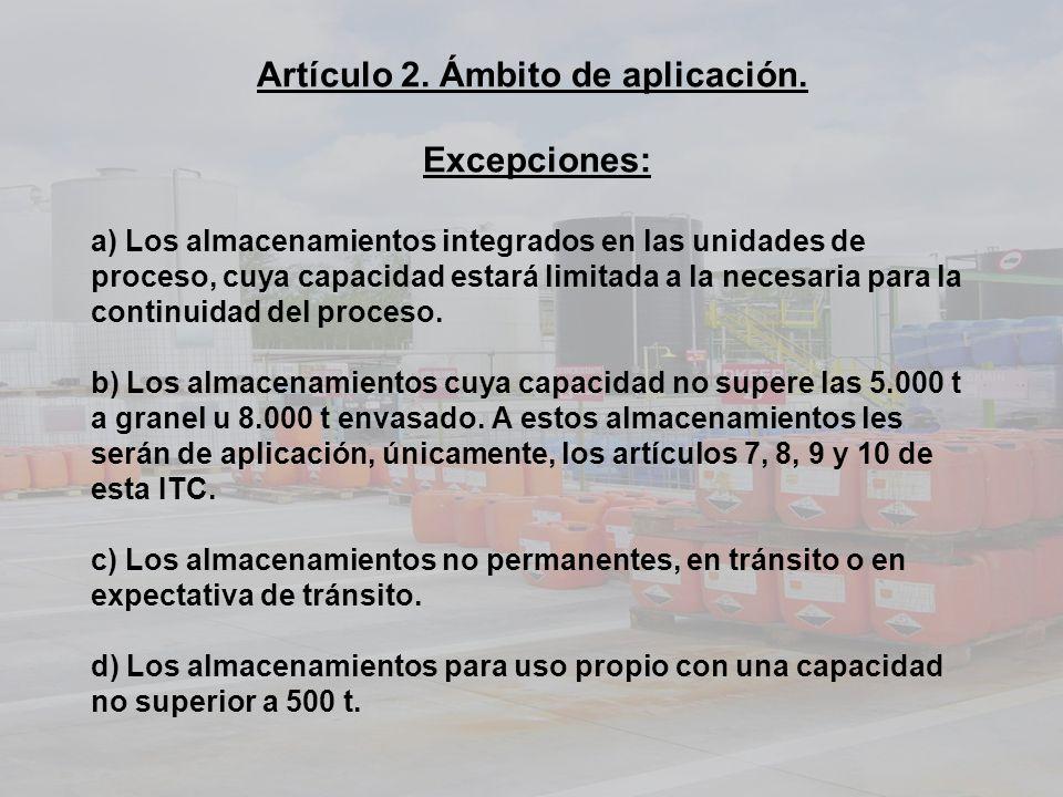 Artículo 2. Ámbito de aplicación. Excepciones: a) Los almacenamientos integrados en las unidades de proceso, cuya capacidad estará limitada a la neces