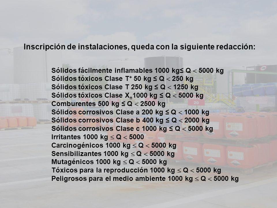 Inscripción de instalaciones, queda con la siguiente redacción: Sólidos fácilmente inflamables 1000 kg Q 5000 kg Sólidos tóxicos Clase T + 50 kg Q 250