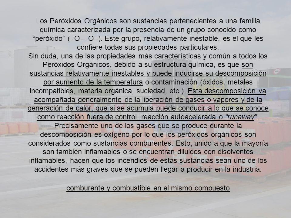 Los Peróxidos Orgánicos son sustancias pertenecientes a una familia química caracterizada por la presencia de un grupo conocido como peróxido (- O – O