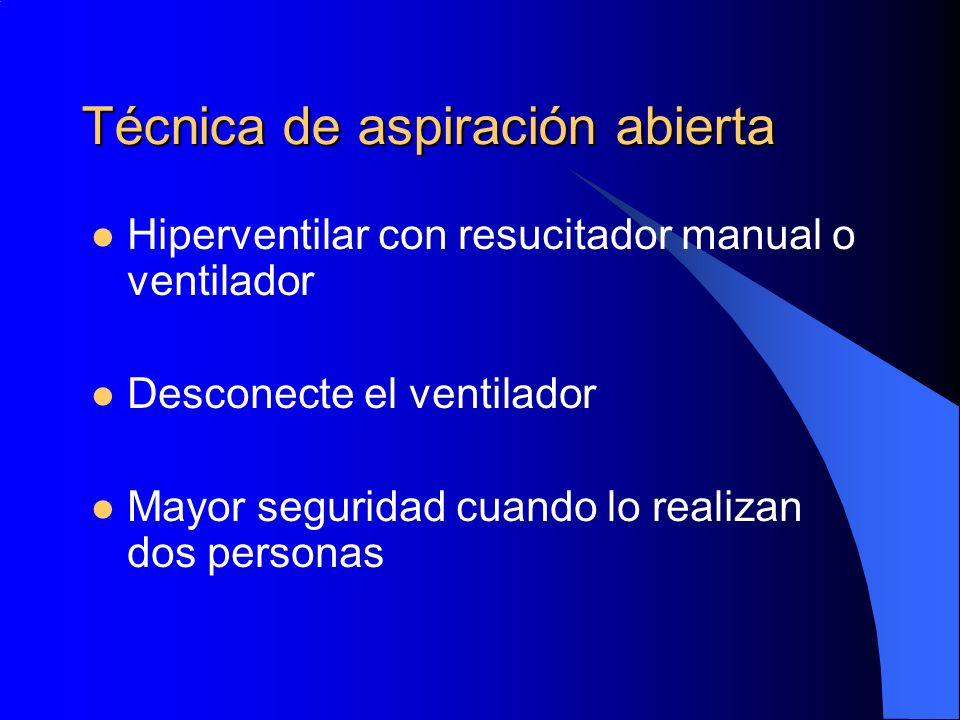 Técnica de aspiración abierta Hiperventilar con resucitador manual o ventilador Desconecte el ventilador Mayor seguridad cuando lo realizan dos person