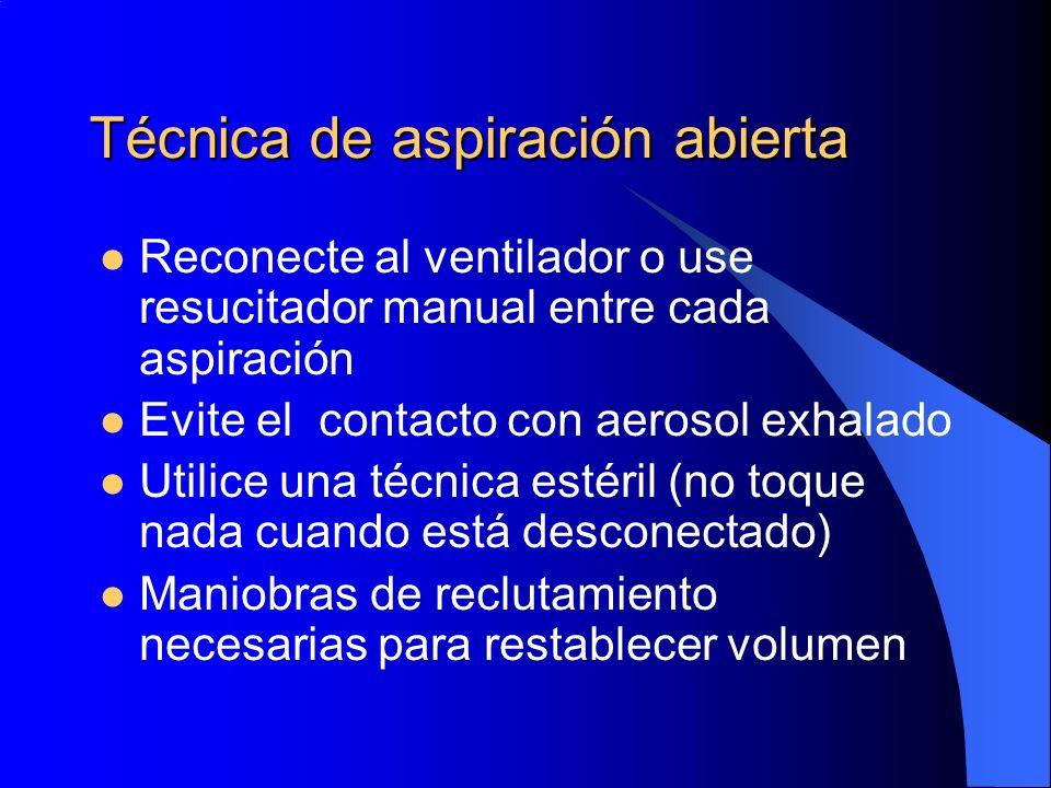 Técnica de aspiración abierta Reconecte al ventilador o use resucitador manual entre cada aspiración Evite el contacto con aerosol exhalado Utilice un