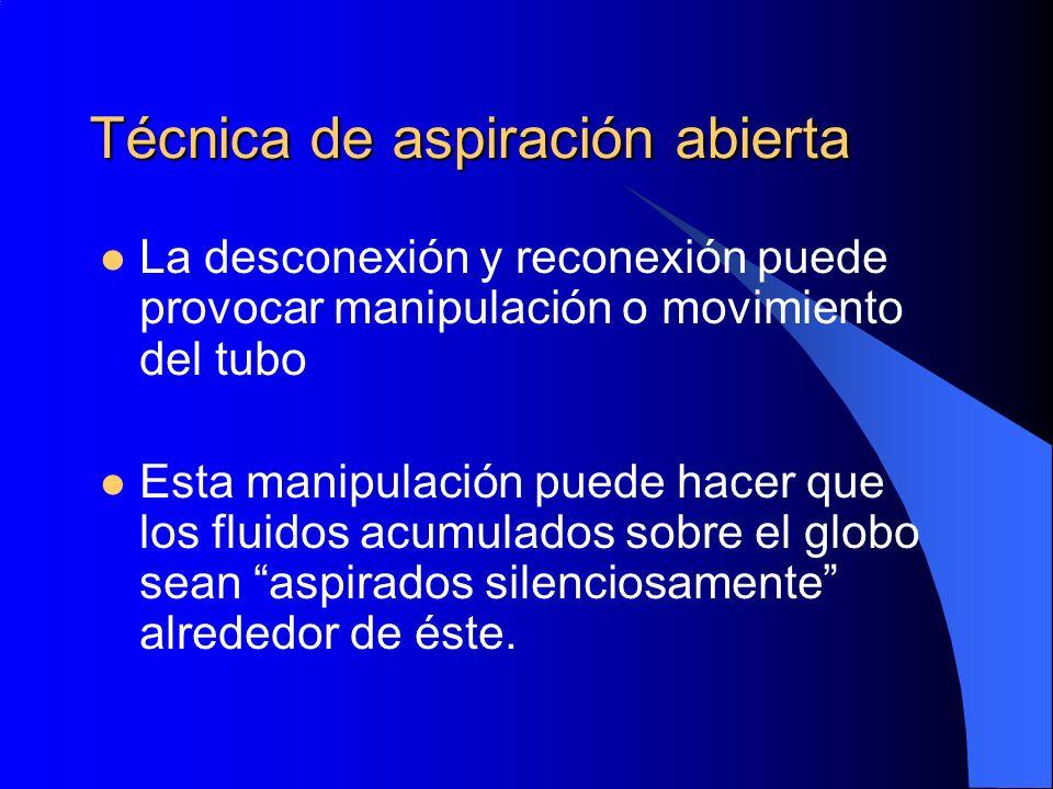 Técnica de aspiración abierta La desconexión y reconexión puede provocar manipulación o movimiento del tubo Esta manipulación puede hacer que los flui