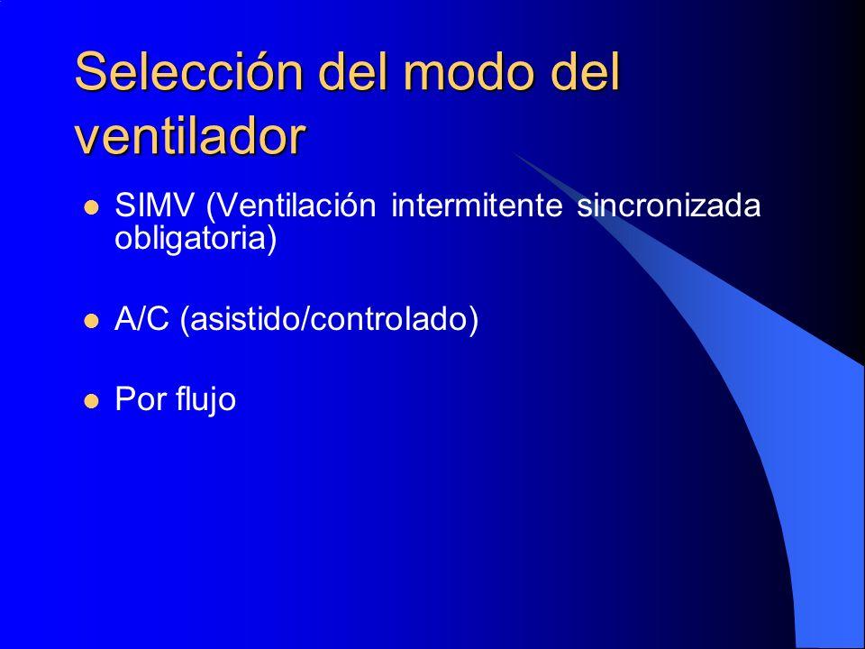 Selección del modo del ventilador SIMV (Ventilación intermitente sincronizada obligatoria) A/C (asistido/controlado) Por flujo