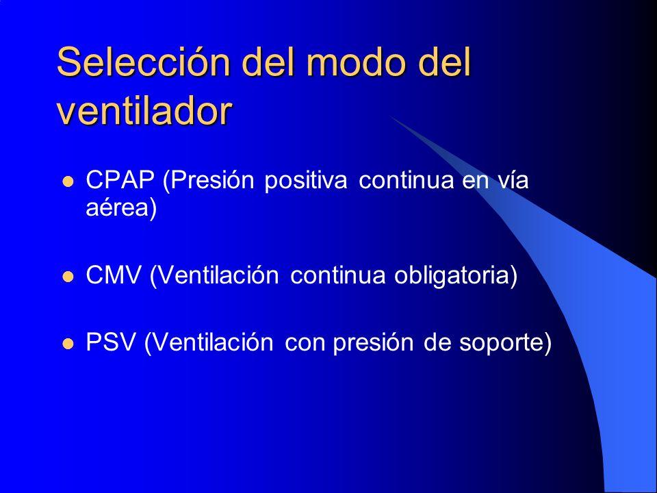 Selección del modo del ventilador CPAP (Presión positiva continua en vía aérea) CMV (Ventilación continua obligatoria) PSV (Ventilación con presión de