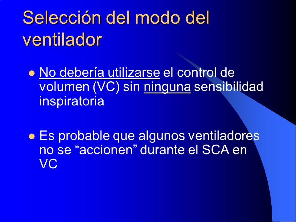 Selección del modo del ventilador No debería utilizarse el control de volumen (VC) sin ninguna sensibilidad inspiratoria Es probable que algunos venti