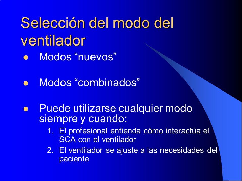 Selección del modo del ventilador Modos nuevos Modos combinados Puede utilizarse cualquier modo siempre y cuando: 1.El profesional entienda cómo inter