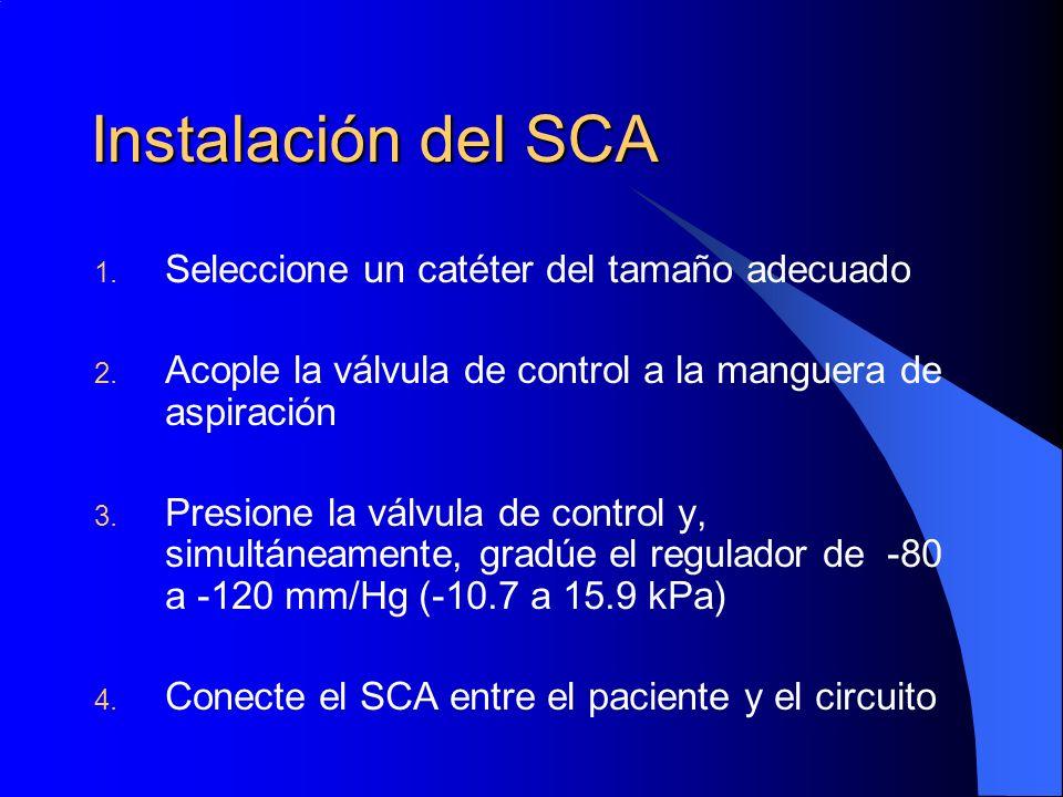 Instalación del SCA 1. Seleccione un catéter del tamaño adecuado 2. Acople la válvula de control a la manguera de aspiración 3. Presione la válvula de
