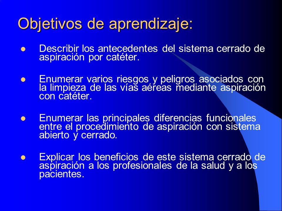 Objetivos de aprendizaje: Describir los antecedentes del sistema cerrado de aspiración por catéter. Enumerar varios riesgos y peligros asociados con l