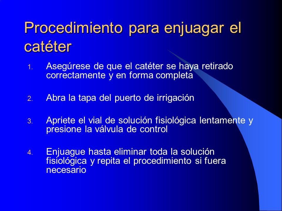 Procedimiento para enjuagar el catéter 1. Asegúrese de que el catéter se haya retirado correctamente y en forma completa 2. Abra la tapa del puerto de