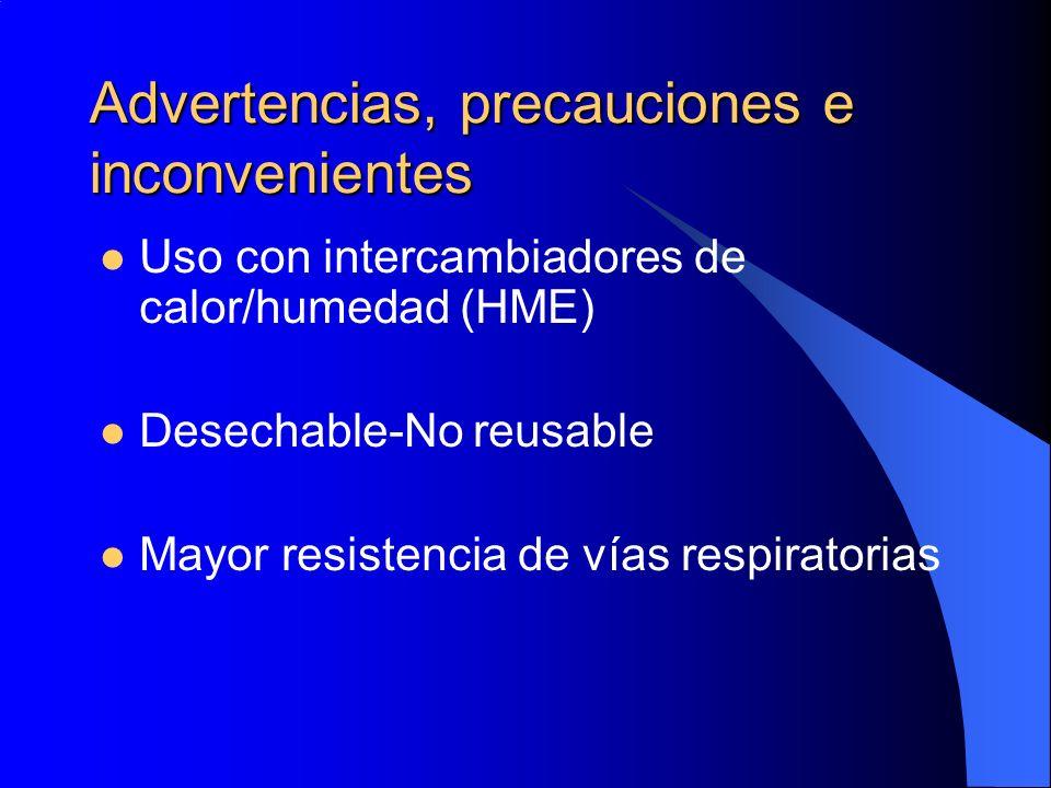 Advertencias, precauciones e inconvenientes Uso con intercambiadores de calor/humedad (HME) Desechable-No reusable Mayor resistencia de vías respirato