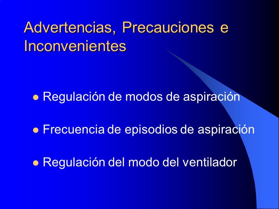 Advertencias, Precauciones e Inconvenientes Regulación de modos de aspiración Frecuencia de episodios de aspiración Regulación del modo del ventilador