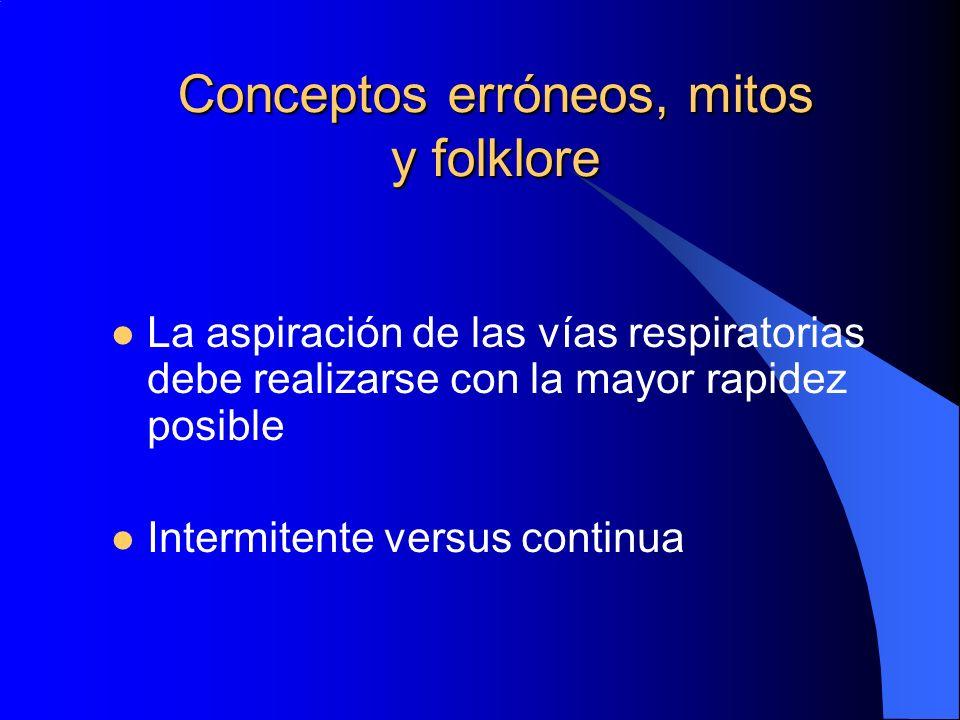 Conceptos erróneos, mitos y folklore La aspiración de las vías respiratorias debe realizarse con la mayor rapidez posible Intermitente versus continua