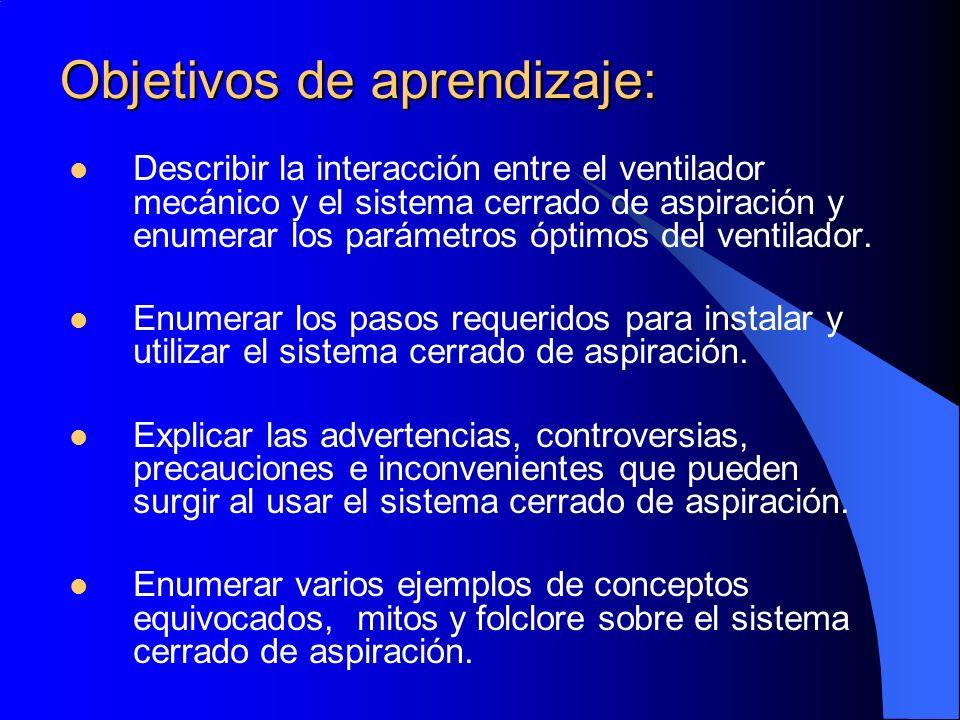 Objetivos de aprendizaje: Describir la interacción entre el ventilador mecánico y el sistema cerrado de aspiración y enumerar los parámetros óptimos d